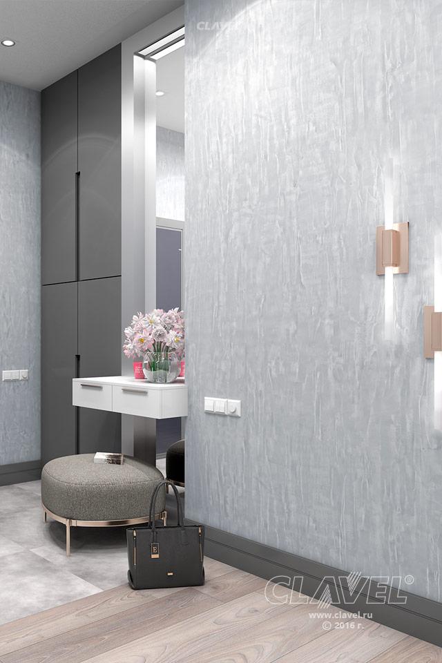 Декоративная краска под бетонные стены - фото в интерьере. Гостиная