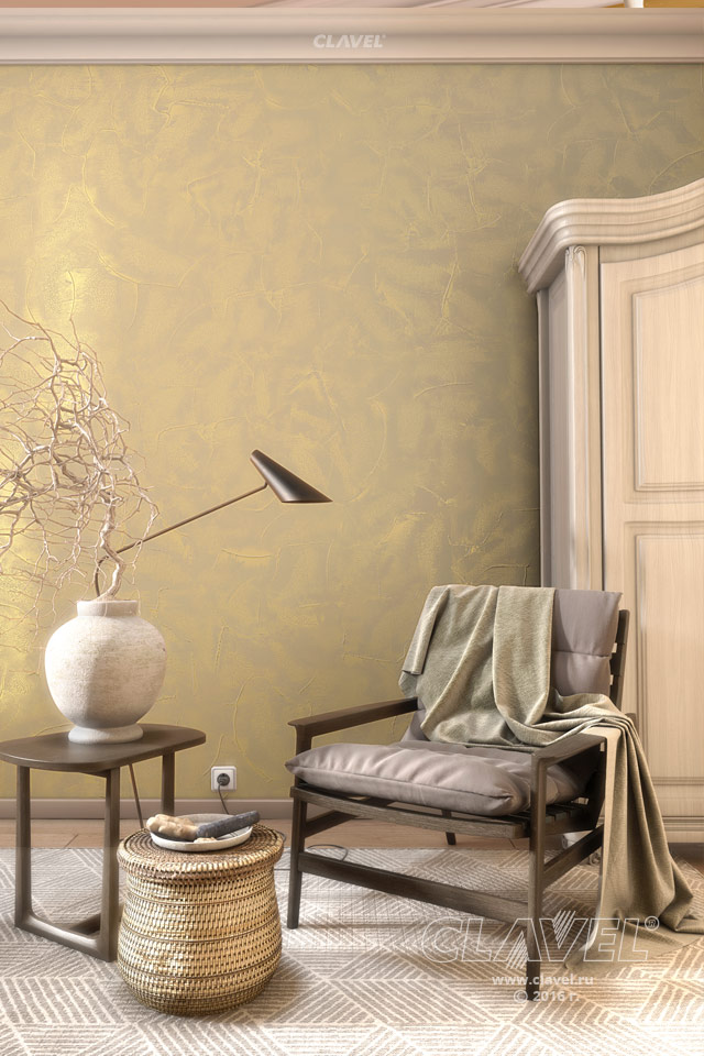 Фактурная штукатурка с перламутровым блеском - фото в интерьере. Спальня