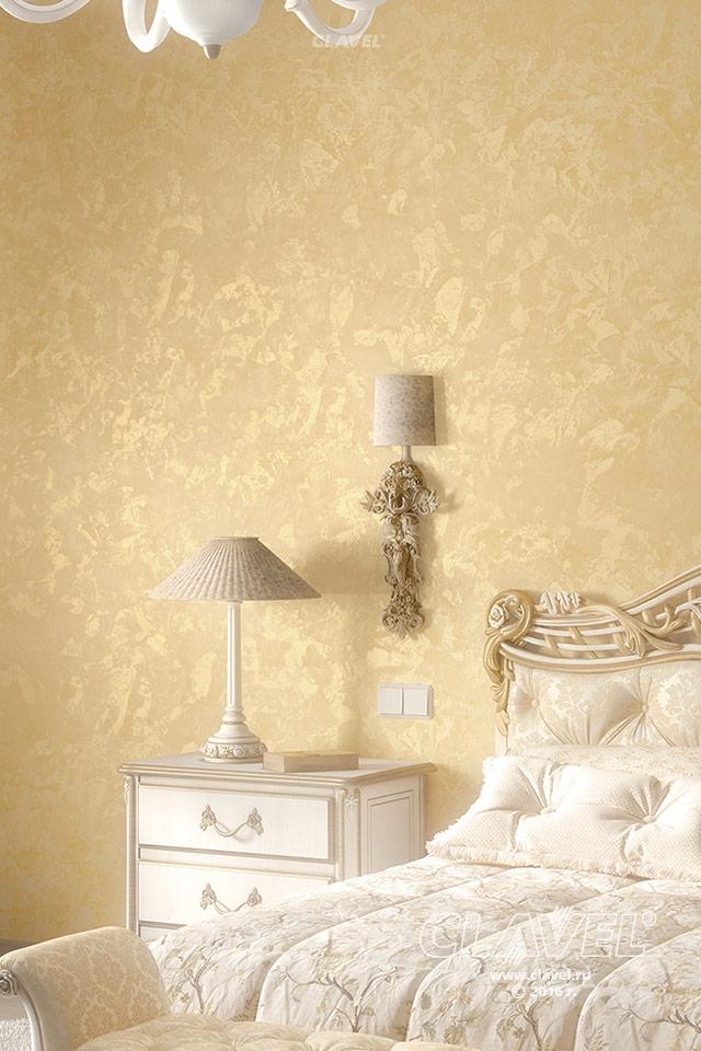 Фактурная штукатурка золотой перламутр - фото в интерьере. Спальня