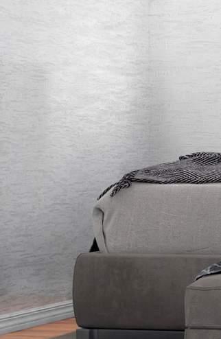 Декоративная штукатурка травертин полированный - фото в интерьере. Спальня
